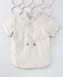 Popsicles Clothing By Neelu Trivedi Linen Kurta Style Shirt - Beige
