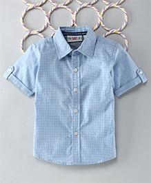 Popsicles Clothing By Neelu Trivedi Checks Shirt Short Sleeves - Blue