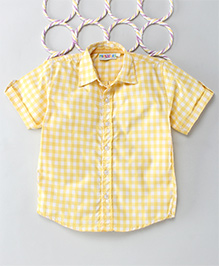 Popsicles Clothing By Neelu Trivedi Checks Shirt - Yellow