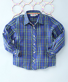 Popsicles Clothing By Neelu Trivedi Checks Shirt - Blue Green