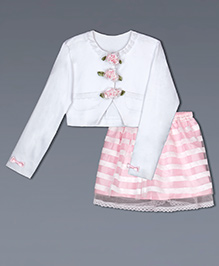 Shilpi Datta Som Flower Applique Jacket With Skirt - White & Pink
