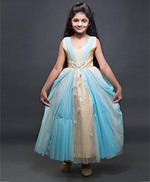 Shilpi Datta Som Fit & Flare Princess Gown - Beige & Blue
