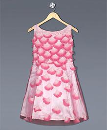 Shilpi Datta Som Fan Motif Dress - White & Pink