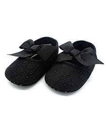 Bellazaara Ribbon Bow Knot Booties - Black