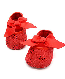 Bellazaara Ribbon Bow Knot Booties - Red