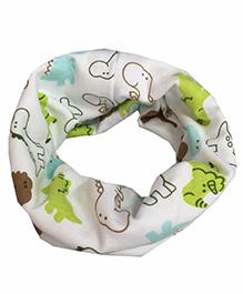 Bellazaara Autumn Winter Dinosaur O-Ring Infinity Neck Scarves - Green