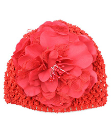 Bellazaara Peony Flower Weave Cap - Red