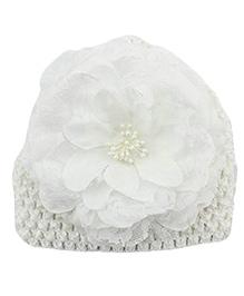 Bellazaara Peony Flower Weave Cap - White