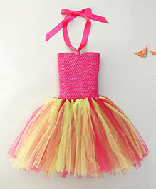 Adores Attractive Party Dress With Headband - Pink & Green
