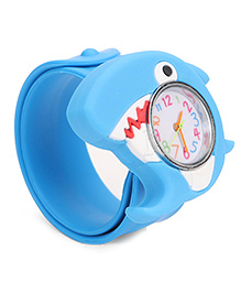 Analog Wrist Watch Dolphin Shape Dial - Blue