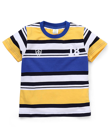 Water Melon Stripe & 18 Print T-Shirt - Blue & Yellow