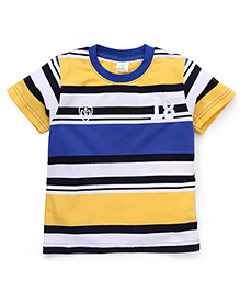Water Melon Stripe & 18 Print T-Shirt - Yellow & Blue