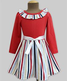 A.T.U.N Stripes Ruffle Neck Full Sleeves Dress - Red & Multicolour