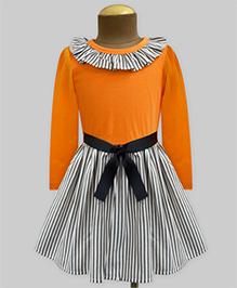 A.T.U.N Stripe Ruffle Neck Full Sleeve Dress - Orange & Black