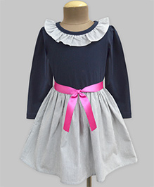 A.T.U.N Stripe Ruffle Neck Full Sleeve Dress - Navy & White