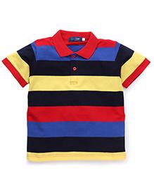Water Melon Stripe Print T-Shirt - Blue Yellow & Black