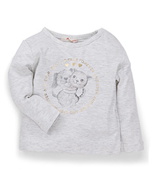 Fox Baby Full Sleeves Best Friend Forever Print Tee - Light Grey