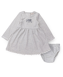 Fox Baby Full Sleeves Frock With Bloomer - Light Grey