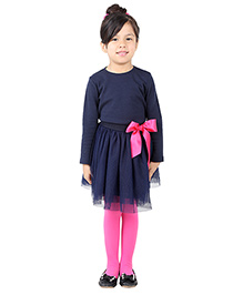My Lil Berry Three Fourth Sleeves Top And Skirt with Bow Applique - Navy Blue