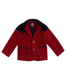 One Friday Boys Woolen Jacket With Contrast Pattern - Burgundy