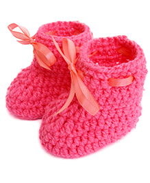 Love Crochet Art Crochet Baby Woolen Booties With Ribbon Lace - Pink