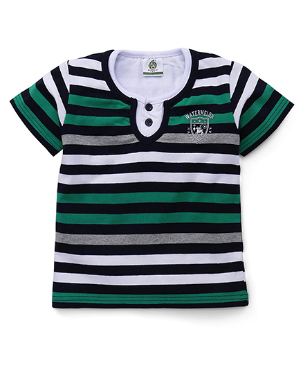 Water Melon Stripe Print T-Shirt - Green
