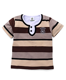 Water Melon Stripe Print T-Shirt - Brown