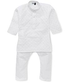 Babyhug Full Sleeves Kurta And Pajama - White