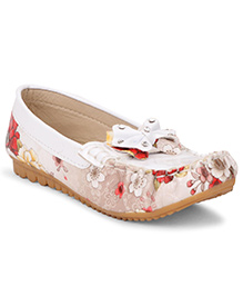 Cute Walk by Babyhug Floral Print Belly Shoes - White
