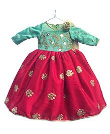 Flutterbows Designer Aanya Ethnic Gown - Mint Green