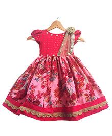 Flutterbows Designer Myra Ethnic Gown - Red