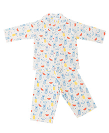 Little Bum Colorful Fruits Night Wear - White