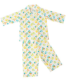 Little Bum Colorful Triangles Night Wear - White & Yellow
