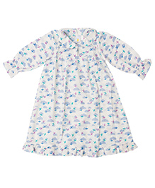 Little Bum Cloud & Plane Print Night Gown - White & Blue