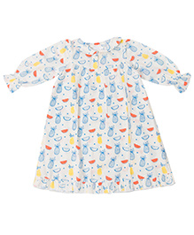Little Bum Colorful Fruits Print Night Gown - White Yellow & Blue