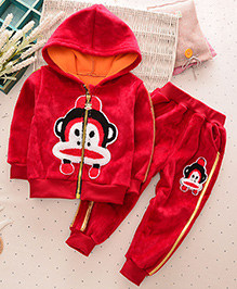 Pre Order - Lil Mantra Monkey Hoodie Jacket & Bottom Set- Red