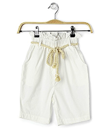 Cubmarks High Waist Pants With Rope Belt - White
