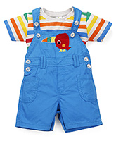 Cucumber Dungarees With T-Shirt Bird Patch - Blue And Multi Color