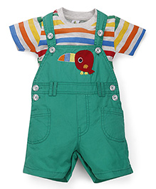 Cucumber Dungarees With T-Shirt Bird Patch - Green And Multi Color