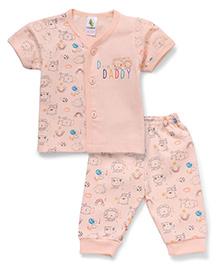 Cucumber Half Sleeves Vest And Pajama Animal Print - Peach