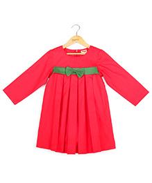 Hugsntugs Green Bow Dress - Red