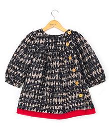 Hugsntugs Full Sleeve Dress With Wooden Button - Black