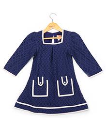 Hugsntugs Aop Dress With Front Pocket - Navy Blue