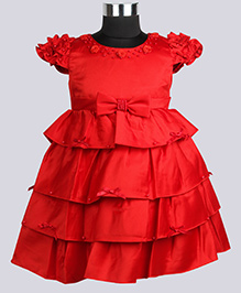 WhiteHenz ClothingBow & Flower Applique Dress With Ruffle Sleeves - Red
