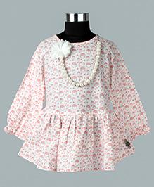 WhiteHenz ClothingChristmas Delight Owl Print Tunic - White & Pink