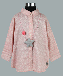 WhiteHenz ClothingCute Heart Print Shirt With Back Bow Collar - Pink
