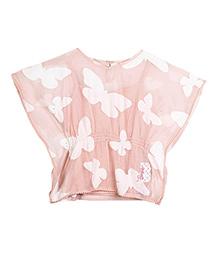 Barbie Poncho Kaftan Top Butterfly Print - Light Pink