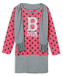 Barbie Full Sleeves Winter Pull Over Dress With Scarf - Grey Pink