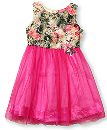 Barbie Sleeveless Party Dress Floral Bodice - Pink