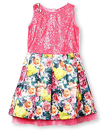 Barbie Sleeveless Party Dress Sequin Bodice & Floral Design - Pink